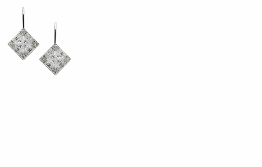 Dessy Accessories - Faceted Princess Cut Cubic Zirconia Drop Earrings