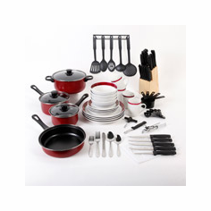 Gibson Home Simply Casual 84-Piece Dinnerware Combo Set of Pots, Pans, Utensils and Plates, Assorted Colors, new