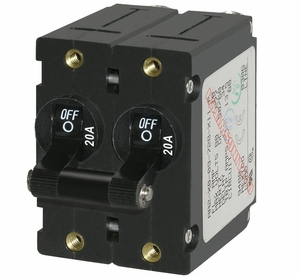 Blue Sea A-Series White/Black Toggle Circuit Breaker - Double Pole AC/DC