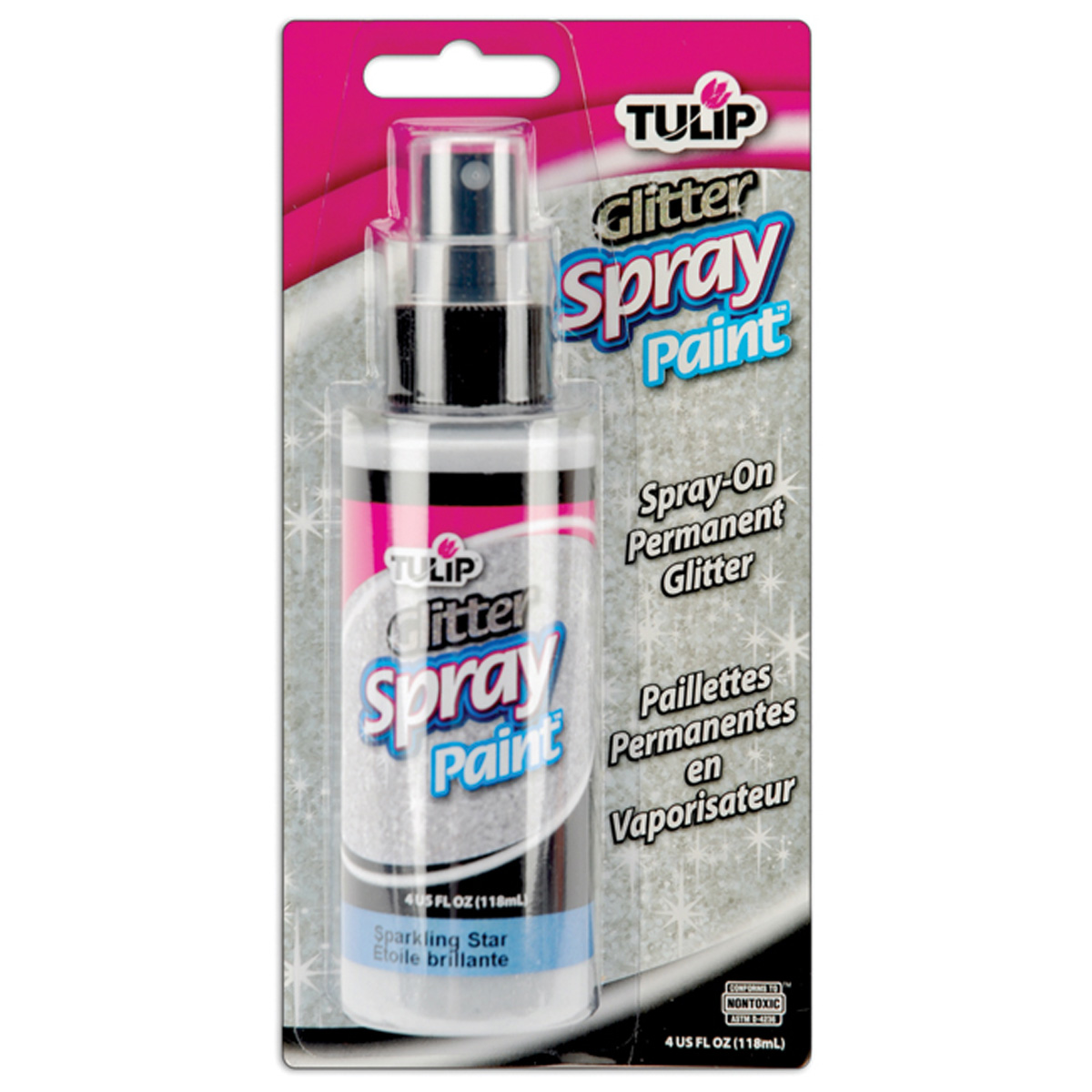 Tulip Fabric Spray Paint 4oz Sparkling Star White Glitter