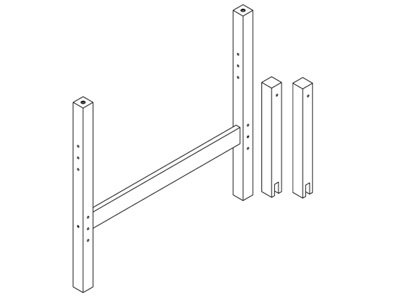 """1500 Mid-Height Twin/Twin """"L""""-Shape or Parallel Kit for Maxtrix Beds"""