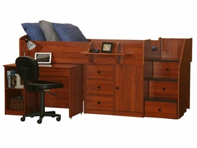22-721 Captains Bed with Hideaway Desk and 3-Stairs
