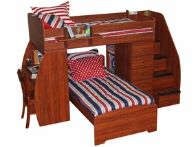 22-805 Twin/Twin Loft Bed with Chest, Desk & 4-Stairs