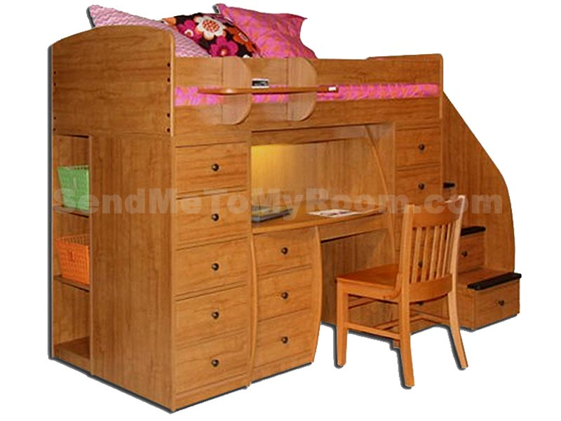 22 808 Twin Loft Bed with 2 Chests  Desk   4 Stairs. Berg Furniture Space Saver Loft Bed 2 Chests  Desk   Stairs  22