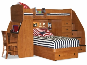 22-825 Twin/Twin Loft Bed Desk, Chest, Platform Bed & 4-Stairs