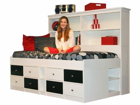 22-950/95A Jr Captains Bed with 8-Drawers and Wide Bookcase