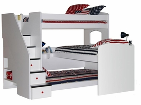 23-777 Trifecta Triple Bunk Bed with 5-Stairs