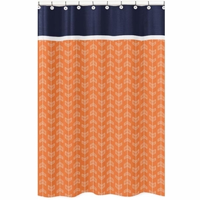 Arrow Orange and Navy Fabric Shower Curtain