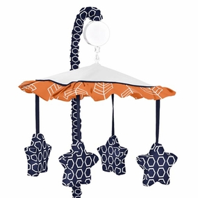 Arrow Orange and Navy Musical Crib Mobile