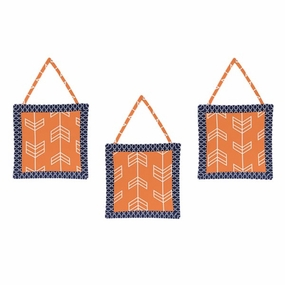 Arrow Orange and Navy Wall Hangings
