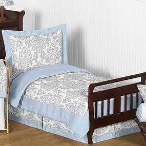 Avery Blue and Gray 5-piece Toddler Bedding Set