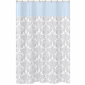 Avery Blue and Gray Fabric Shower Curtain