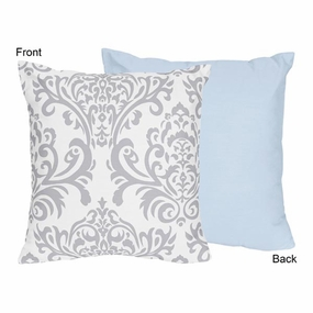 Avery Blue and Gray Throw Pillow