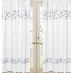 Avery Blue and Gray Window Curtain Panels