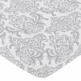 Avery Gray and White Damask Print Fitted Crib Sheet