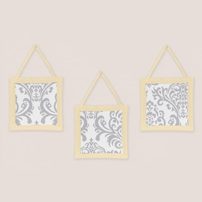 Avery Yellow and Gray Wall Hangings