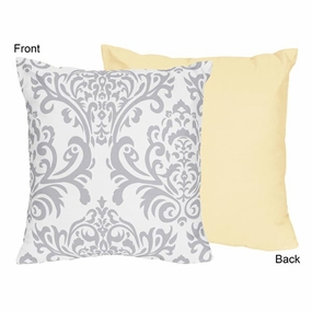 Avery Yellow and Gray Throw Pillow
