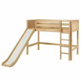 Awesome Mid-Height Loft Bed with Slide & Straight Ladder
