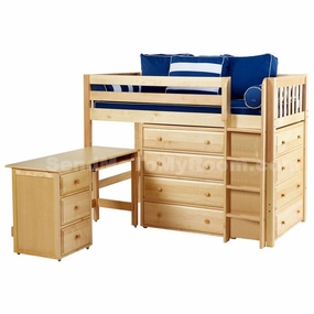 Bling 1 Twin Mid-Height Storage Loft Bed with Desk and Straight Ladder