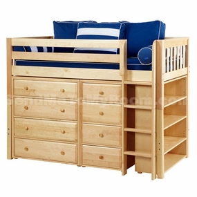 Bling 2 Twin Mid-Height Storage Loft Bed with Straight Ladder