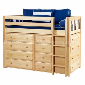 Bling Twin Mid-Height Storage Loft Bed with Straight Ladder