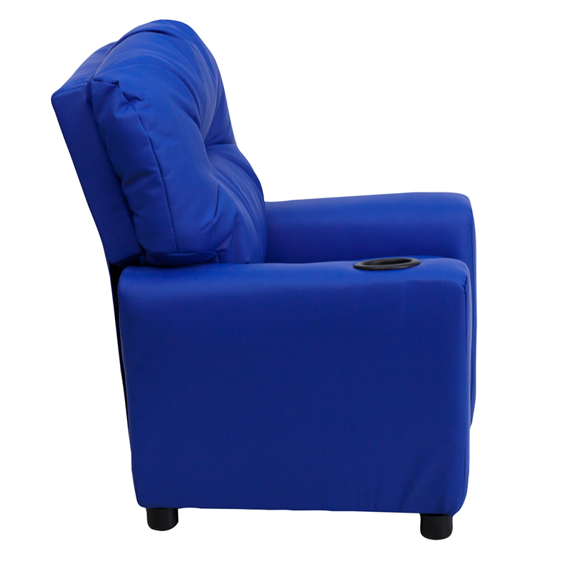 Blue kids recliner with cup holder