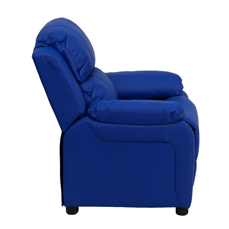 Blue kids recliner with storage arms