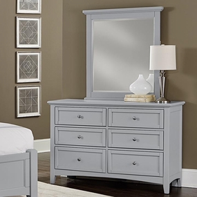 Boulevard 6 Drawer Double Dresser in Grey