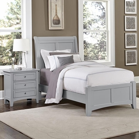 Boulevard Twin and Full Sleigh Bed in Grey