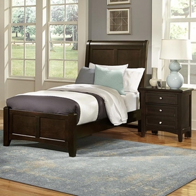 Boulevard Twin and Full Sleigh Bed in Merlot