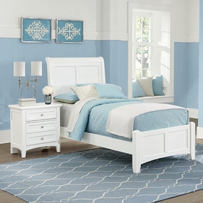 Boulevard Twin and Full Sleigh Bed in White