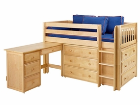 Box 1 Twin Low Loft Storage Bed with Desk and Straight Ladder