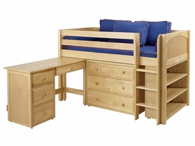 Box 3 Twin Low Loft Storage Bed with Desk and Straight Ladder
