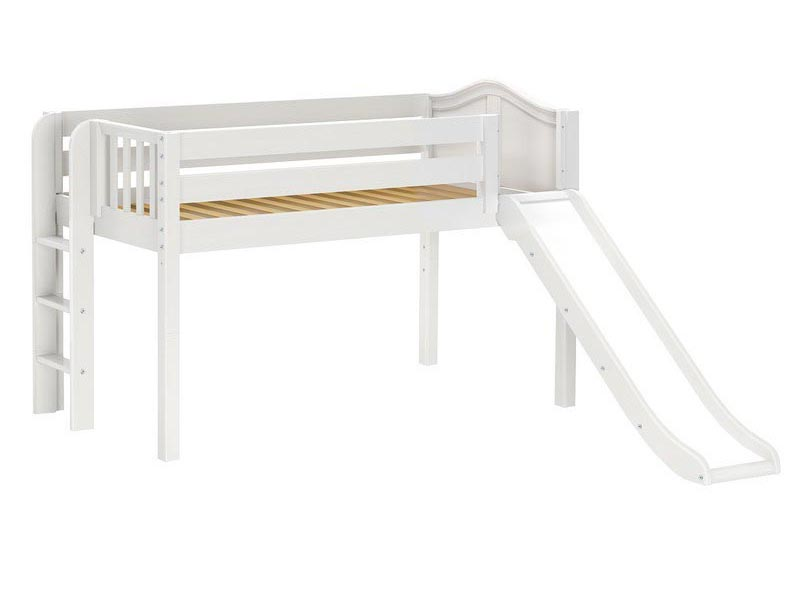 Brainy Low Loft Bed with Slide and Straight Ladder on End