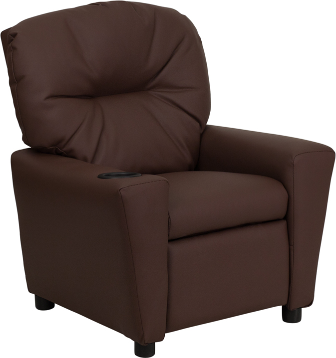 Brown kids recliner with cup holder