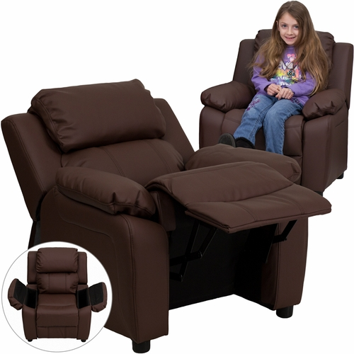 Brown kids recliner with storage arms