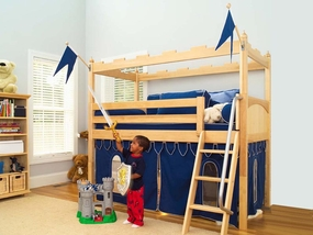 Camelot 3 Twin Low Loft Bed with Angled Ladder and Castle Curtain