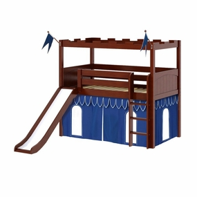 Camelot 5 Twin Low Loft Slide Bed with Straight Ladder and Curtain
