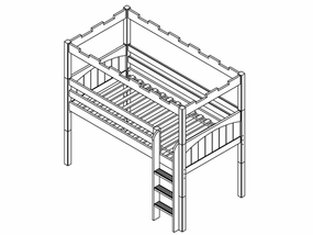 Camelot Twin Low Loft Bed with Straight Ladder