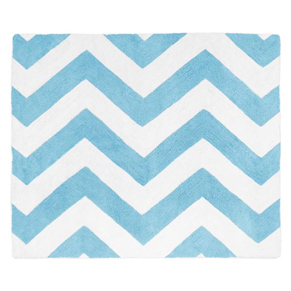 Chevron Blue and White Accent Floor Rug