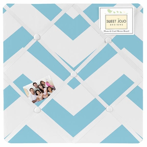 Chevron Blue and White Fabric Memo Board