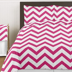 Chevron Pink & White Bedding Collection
