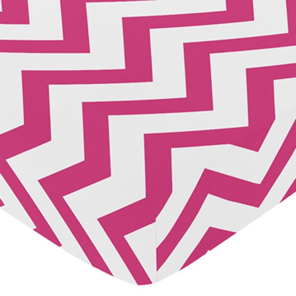 Chevron Pink and White Print Fitted Crib Sheet