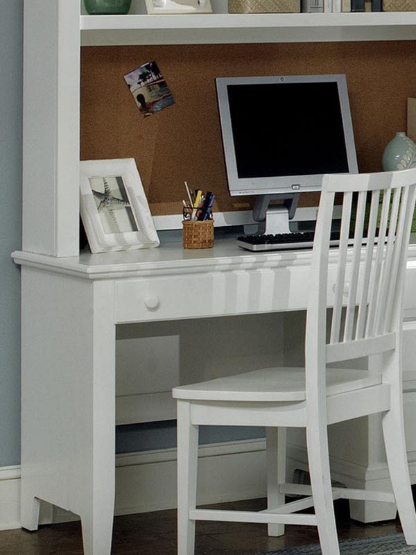 Hamlet Computer Desk shown with optional Hutch Top in Snow White