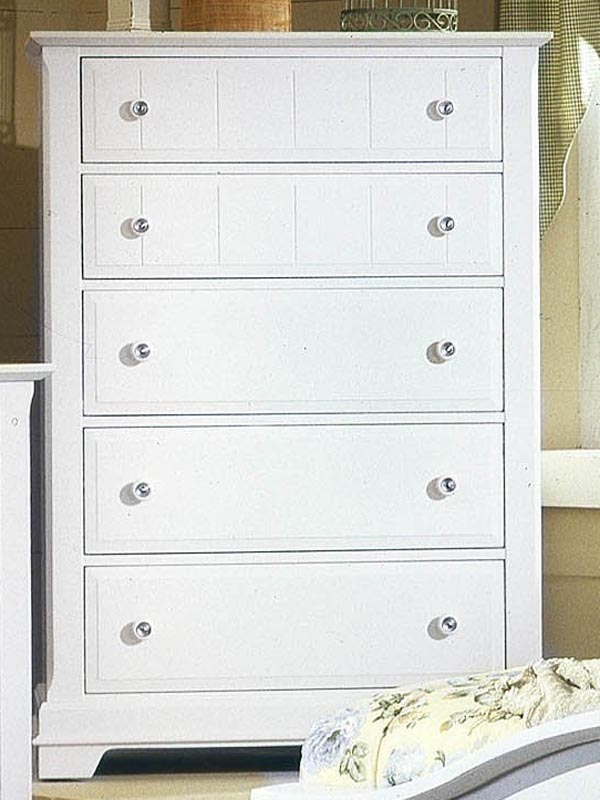 Country 5 Drawer Chest in Snow White
