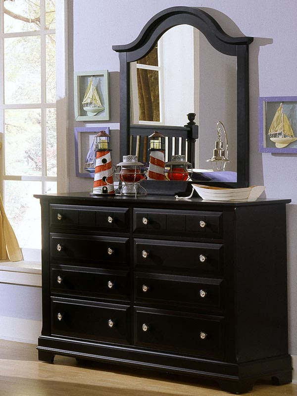 Country 6 Drawer Double Dresser in Black