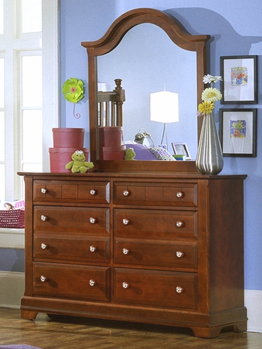 Country 6 Drawer Double Dresser shown in Cherry