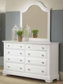Country 6 Drawer Double Dresser in Snow White