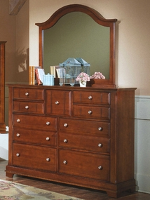 Country 9 Drawer Dresser shown with optional Mirror shown in Cherry