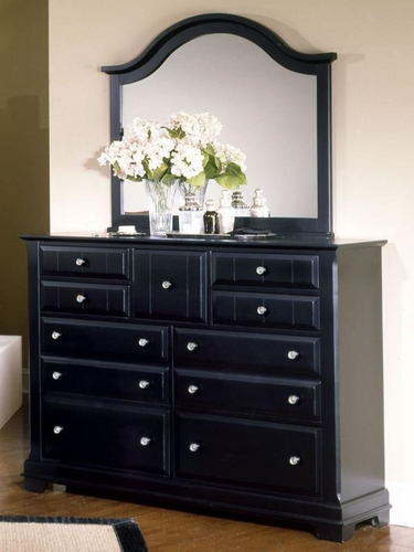 Country 9 Drawer Dresser shown with optional Mirror in Black